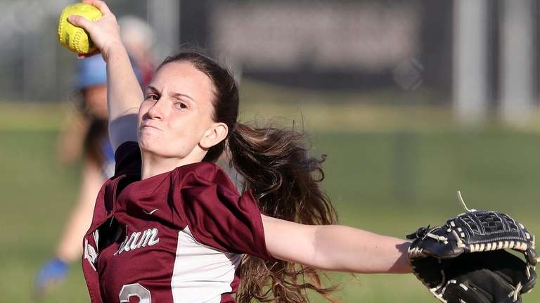 Mepham relief pitcher Stephanie Burns throws during a