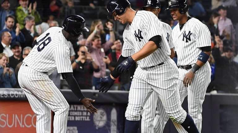 New York Yankees shortstop Didi Gregorius greets Yankees