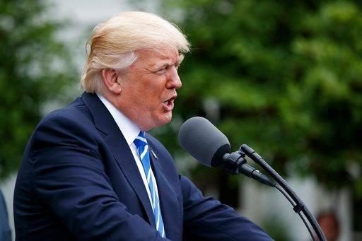 President Donald Trump speaks during a presentation ceremony,