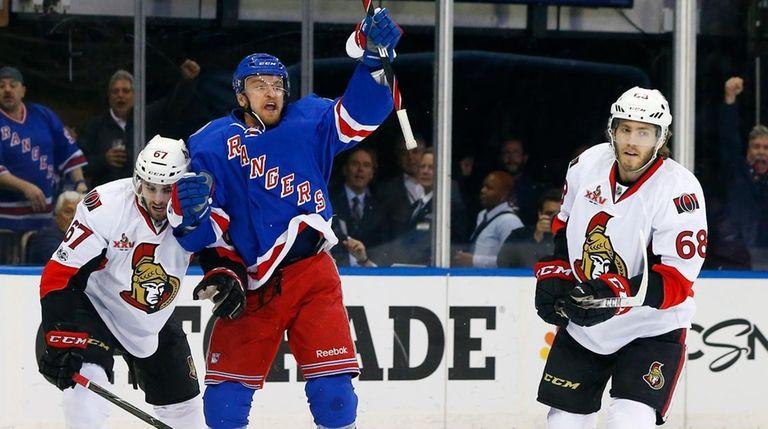 Michael Grabner of the New York Rangers celebrates