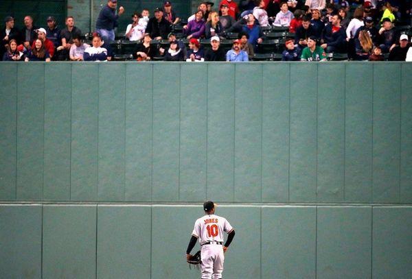 Baltimore Orioles' Adam Jones looks up at fans