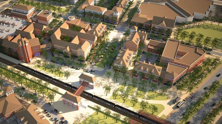 A rendering shows a proposed neighborhood of mixed-use