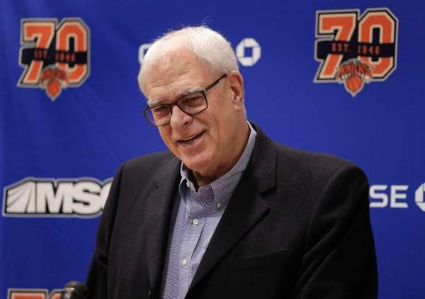 New York Knicks president Phil Jackson answers questions