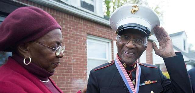 Vincent Long, 91, was presented with a Marine