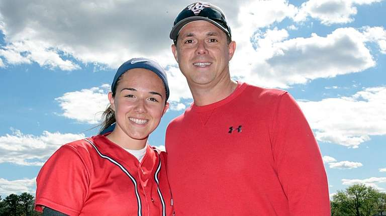 Morgan Catalanotto with her father Frank before a