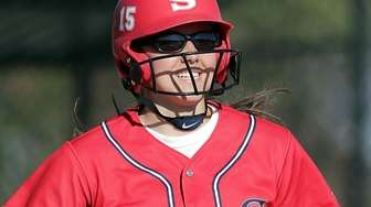 Morgan Catalanotto (15) reacts at first after legging