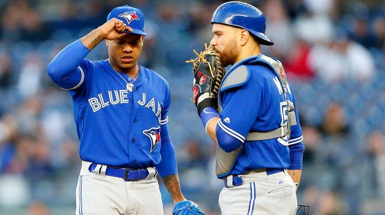 Marcus Stroman of the Toronto Blue Jays stands