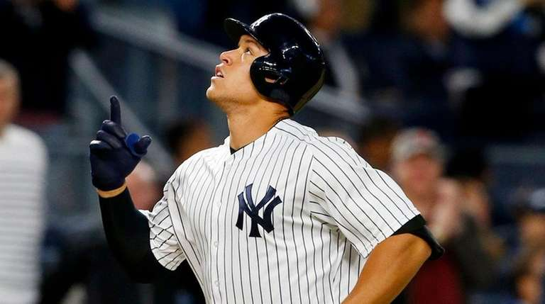 Aaron Judge of the Yankees reacts after his