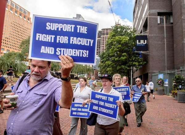 LIU Brooklyn faculty members and students protest the