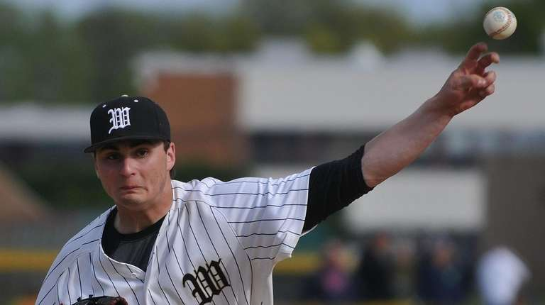 Anthony Fontana #4, Wantagh left-handed pitcher, delivers to