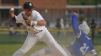 Anthony D'Onofrio #17, Wantagh shortstop, left, records a