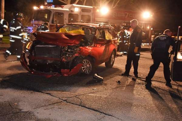 Two people suffered minor injuries in a three-vehicle