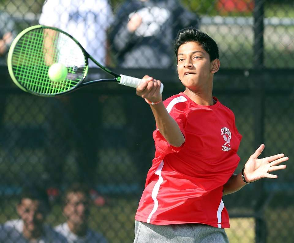 Syosset's Neel Rajesh as he plays against Roslyn's