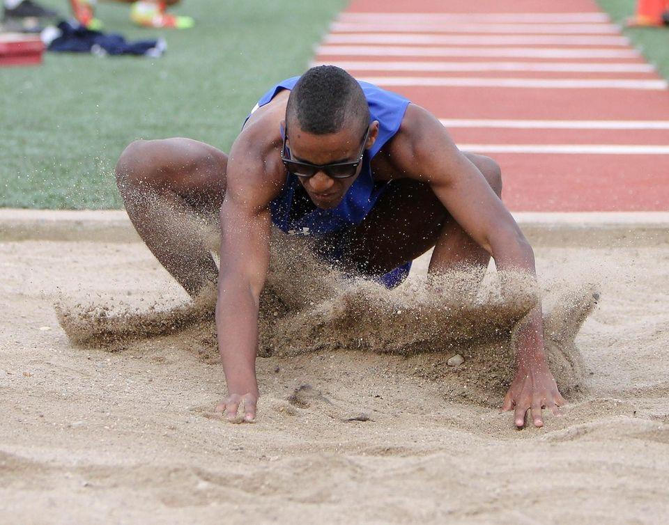 Ishmael Lamarque of Roslyn wins the triple jump