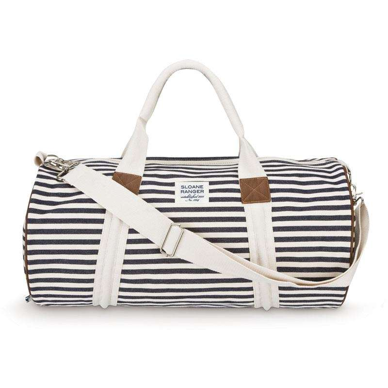 This striped duffel is the perfect gift to