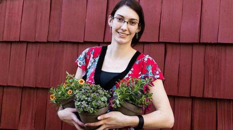 Millennial gardener Victoria Ferremi, a student at Farmingdale