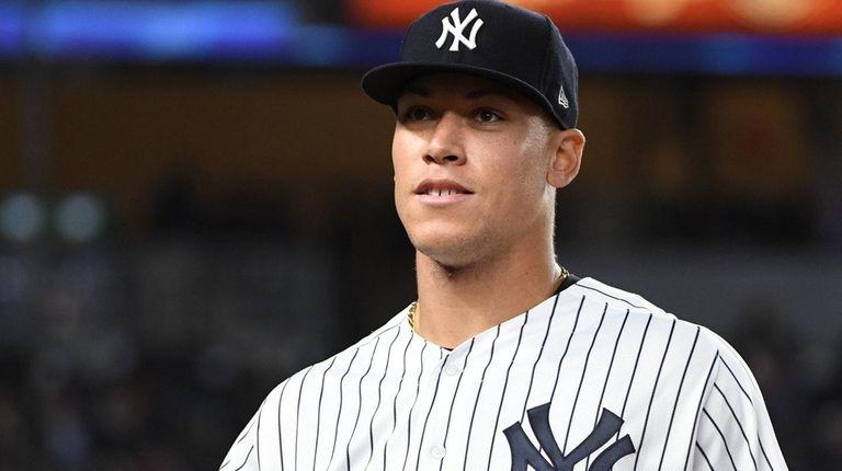 Yankees rightfielder Aaron Judge looks on against