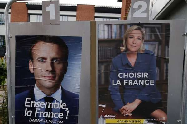 Election campaign posters for French centrist presidential candidate