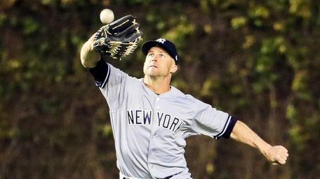 New York Yankees outfielder Brett Gardner catches a