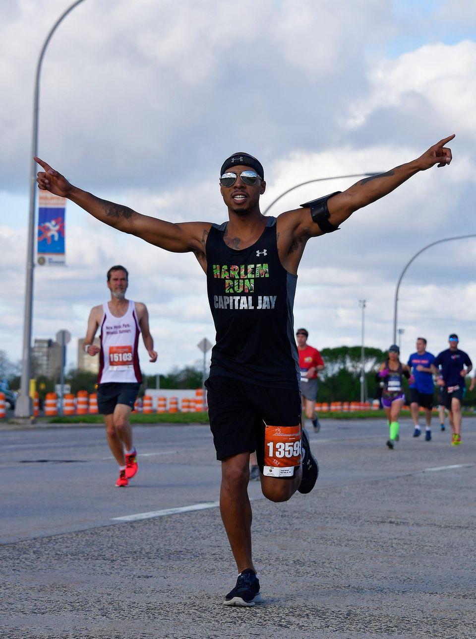 Jason Carrol, 35, of Manhattan, runs the half-marathon