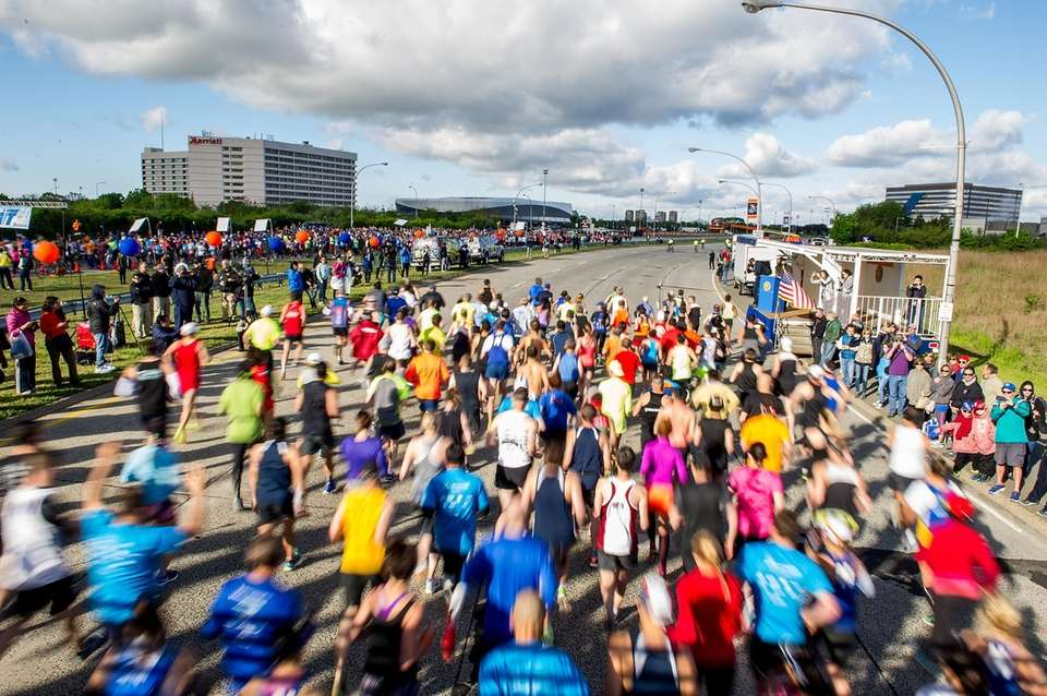 Runners participating in the Long Island Marathon take