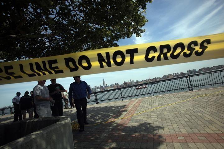 HOBOKEN, NJ - AUGUST 08: Police tape is
