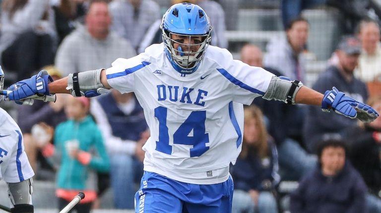 Justin Guterding (Garden City) of Duke celebrates his