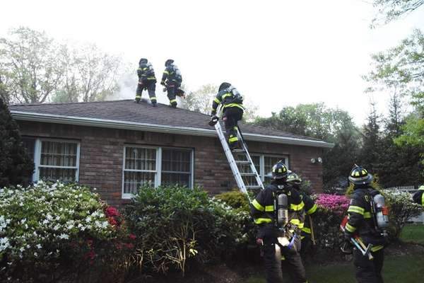 The Dix Hills Fire Department at the scene