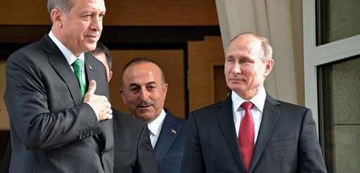 Turkish President Recep Tayyip Erdogan, left, and Russian