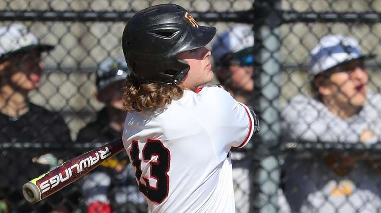 Patchogue-Medford's Josh Rovner #13 hits a home run