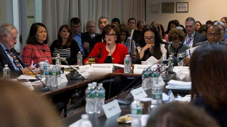 State Education Commissioner MaryEllen Elia, left, and Regents