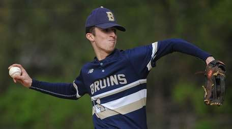 Mike Ahearne #14, Baldwin pitcher, delivers to the