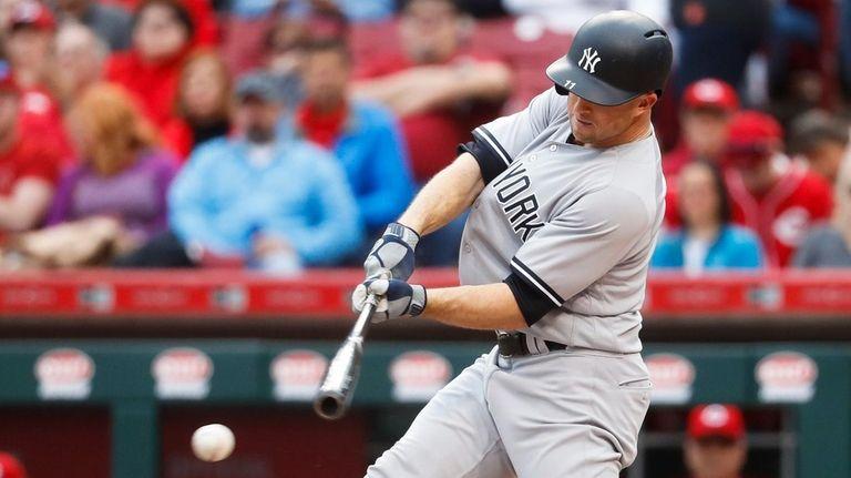 New York Yankees' Brett Gardner hits a single