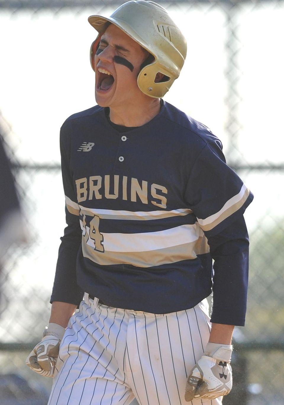Allan Drew, Baldwin first baseman, reacts after crossing