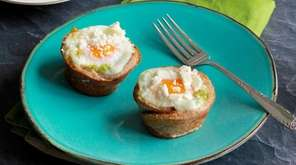 Toast cups filled with avocado and egg are