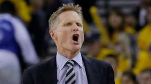 Golden State Warriors head coach Steve Kerr yells