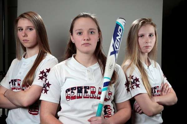 MacArthur's Jess Budrewicz (from left), Shannon Myles and