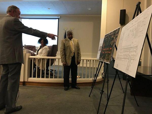 Babylon Town planning board member Gerald O'Neill points