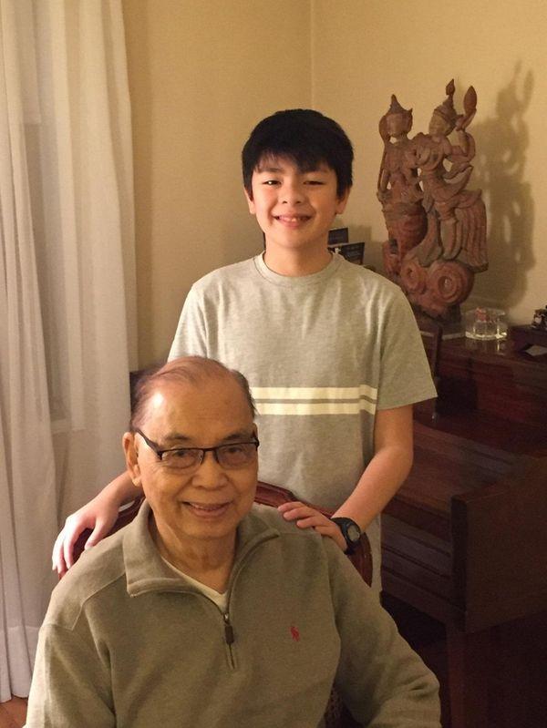 Kidsday reporter Tristan Borlongan and his grandfather Rodolfo