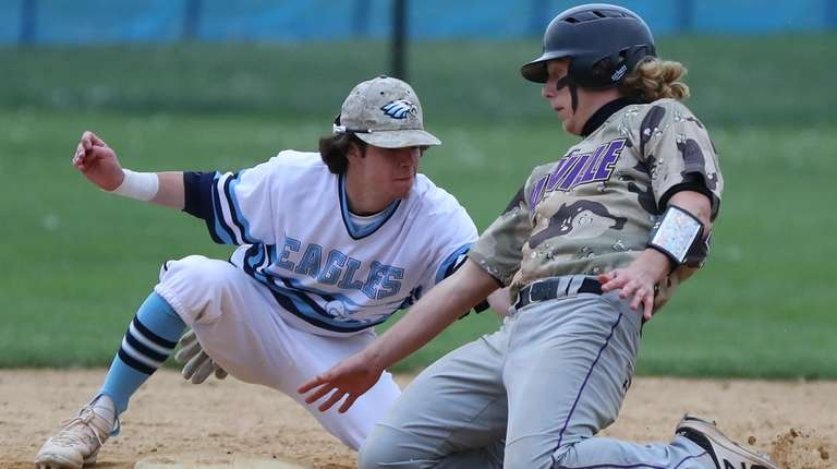 Sayville's Jake Sheridan is called out at second