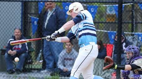 Rocky Point's Brian Forbes hits a two-run double