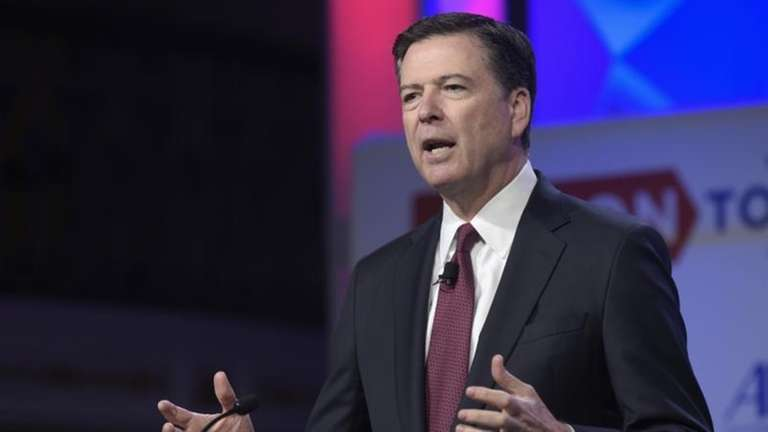 Former FBI Director James Comey speaks in Washington