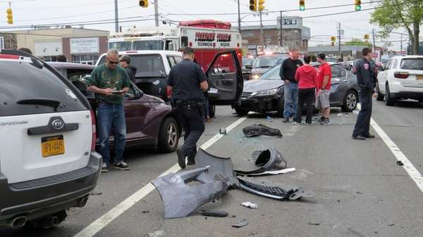 Three people were injured in a four-vehicle accident