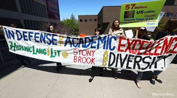 Scores of Stony Brook University students were holding