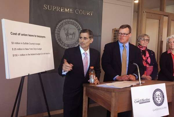 Former Suffolk County Executive Steve Levy announces a
