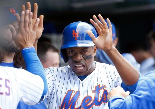 Curtis Granderson of the New York Mets celebrates