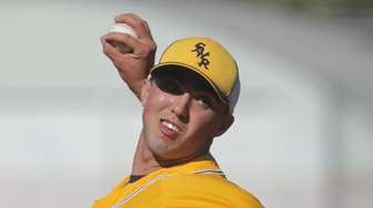 Shoreham-Wading River's starting pitcher Brian Morrell (23) delivers