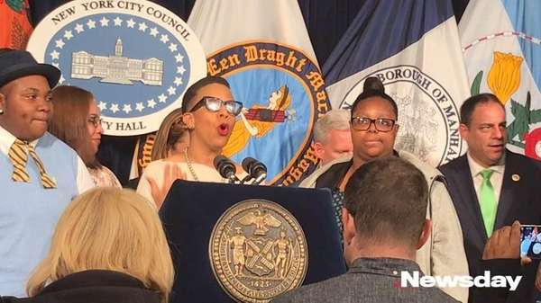 Councilwoman Laurie Cumbo (D-Brooklyn) speaks at City Hall