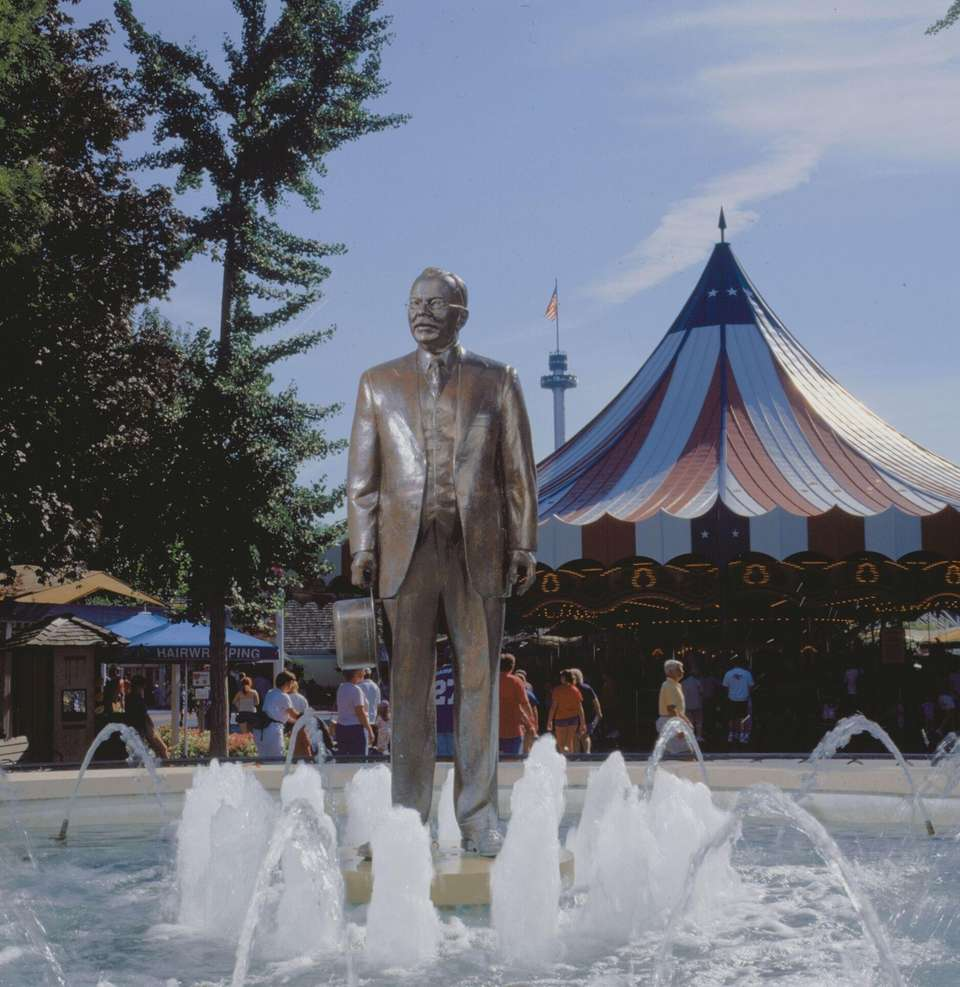 The Milton Hershey Statue at the front of