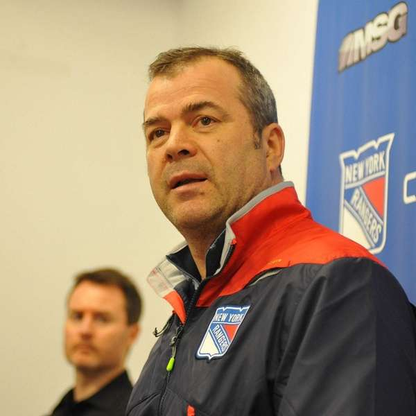 Alain Vigneault, New York Rangers head coach, speaks